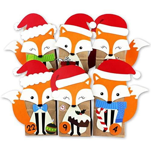 DIY Adventskalender zum Befüllen - ausgestanzte Füchse - mit 24 braunen Papiertüten zum selbst...
