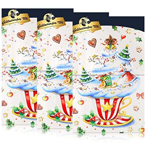 Goldmännchen-Tee Adventskalender mit 24 Türchen & Teebeuteln 50g (3er Pack)