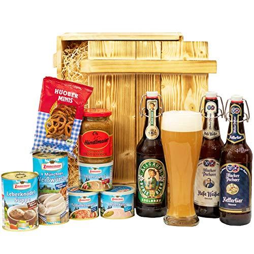 Geschenkset München | Großer Bayern Geschenkkorb mit Bier, Bierglas & bayrischen Spezialitäten |...