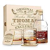 polar-effekt 6 TLG Geschenk-Set in Holzkiste mit Gravur - 2 Whiskygläser, 2 Untersetzer und...