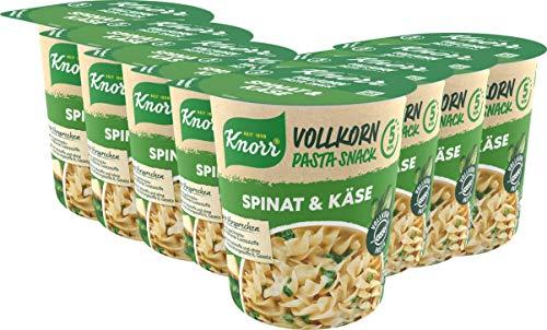 Knorr Vollkorn Pasta Snack Spinat & Käse leckeres Nudelgericht fertig in nur 5 Minuten - 8 x 60 g...