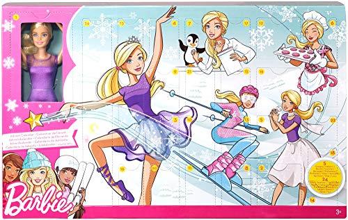Barbie FTF92 - Adventskalender 2018, Spielzeug Weihnachtskalender mit Puppe im lila Kleid, 23...
