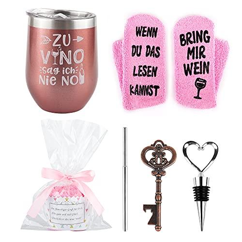 Belloxis Weinbecher Geschenkset mit Wein Socken, Wein Geschenk für Freundin Wenn Du Das Lesen...