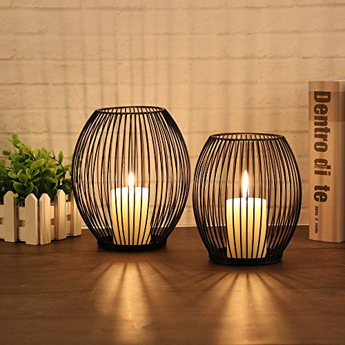 GoMaihe Oval Kerzenständer 2er Set, 14 x 15.5cm und 16 x 18cm Kerzenhalter Stabkerze Metall Deko...