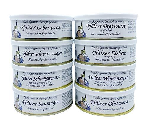 Pfälzer Wurst Dosenwurst Paket Geschenkset im Netz - 8 verschiedene Dosen z.B: Leberwurst,...