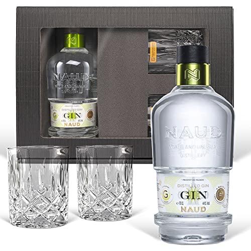 Naud Dry Gin (0,7 l) Geschenk inkl. 2 Tumblern in der Geschenkbox - der Geheimtipp unter Kennern!...
