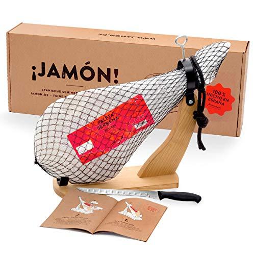 Jamon-Box Nr. 1 - Serrano Schinken 4,5 Kg im Geschenkkarton mit Zubehör | Schinken-Set inklusive...