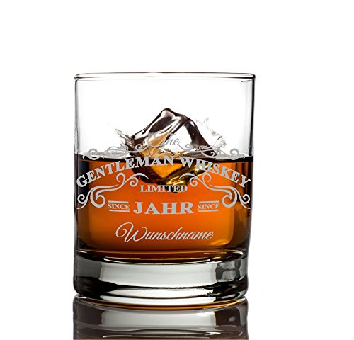 Privatglas Whiskey Glas - Gentleman Whiskey Design - Gratis Gravur Name u. Geburtsjahr Gentleman...