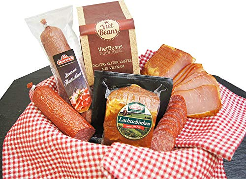Schlemmerbox Wurstgeschenk & Kaffee Set gemahlener Röstkaffee | Salami Schinken geräuchert auf...