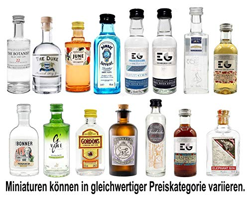 Gin Mini Set Probierset 15er - Bombay + 4 Edinburgh + June + Gordons + Monkey 47 + Friedrichs + The...