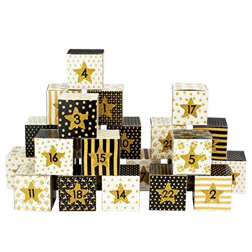 Papierdrachen DIY Adventskalender Kisten Set - Motiv schwarz-Gold - 24 Bunte Schachteln aus Karton...