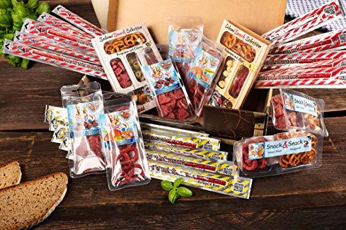 Wurst Geschenk Koffer - mit 24 besondere Salami und Wurst Snacks - Brezen, Herzen, Sterne, Pikanten...