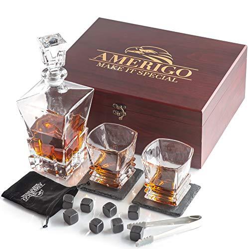 Deluxe Whisky Steine Geschenkset mit Whisky Karaffe - Sei anders bei der Geschenkauswahl -...