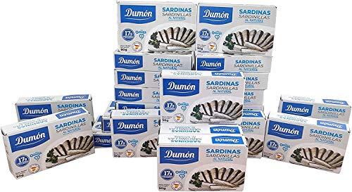 DUMON - 25 Einheiten von 90 Gramm natürlichen Sardinen in Dosen. Proteinreiche Fischkonserven,...