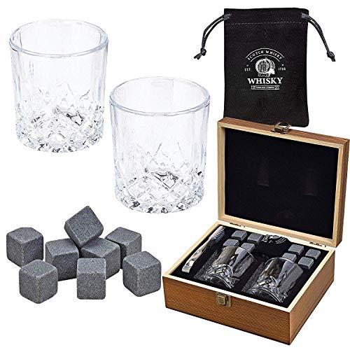WOMA 8 Whisky Steine mit 2 Whiskey Gläsern, Zange & Holz Geschenkbox - Whiskey Steine Geschenkset...