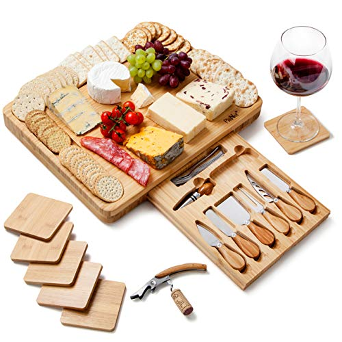 Extra großes Käsebrett aus Bambus, Käseplatte enthält Untersetzer - versteckter Schublade mit...