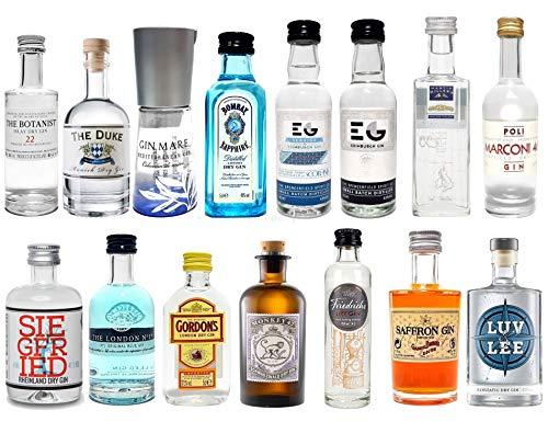 Gin Mini Set Probierset 15er - Saffron + Bombay + Edinburgh + Gin Mare + Gordons + Monkey 47 +...