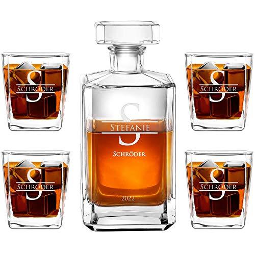 Murrano Whiskey Karaffe + 4er Whiskygläser Set mit Gravur - 700ml Whisky Dekanter - Geschenk zum...