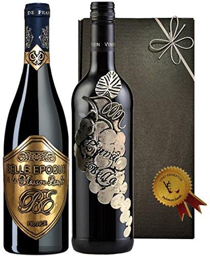 Italien vs. Frankreich Rotwein-Geschenkset der Superlative Prestige-Syrah & Cuvée aus Sangiovese,...