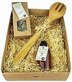 Schwäbisches Salat Geschenkset/Geschenkkorb mit Salatbesteck aus Holz (2-teilig), Apfel-Quitten...