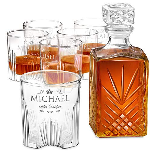 Murrano Whiskey Karaffe + 6er Whiskygläser Set mit Gravur - 1000ml Whisky Dekanter - Geschenk zum...