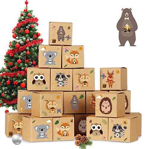 Adventskalender zum Befüllen, 24 DIY Adventskalender Kisten Set, mit 24 Waldtiere Zahlenaufklebern,...