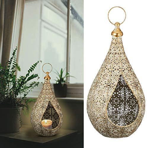 Cepewa Laterne Windlicht aus Metall Größe M im Mandaladesign mit Glaseinsatz Gartendeko Wohndeko...