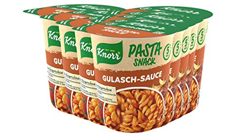 Knorr Snack Bar Nudeln in Gulasch-Sauce, 8er Pack (8 x 60 g)