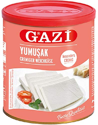 Gazi Yumusak Cremiger Weichkäse - 2x 800g Metalldose - Hirtenkäse Kuhkäse Käse Süzme Beyaz...