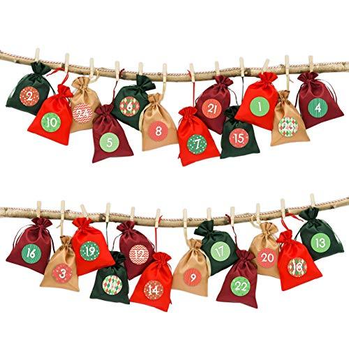 Papierdrachen 24 Adventskalender Stoffsäckchen zum Befüllen – mit Bäckergarn und Klammern –...