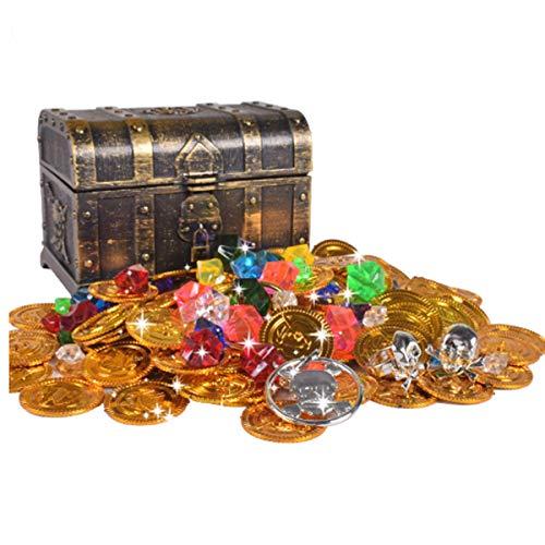mengger Schatztruhe Schatzkiste Pirat Goldmünzen Piratenschatz Spielzeug Set für Goldnuggets...
