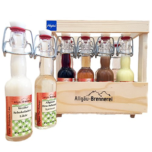 Allgäu-Brennerei 12er Schnaps-Kiste aus Holz