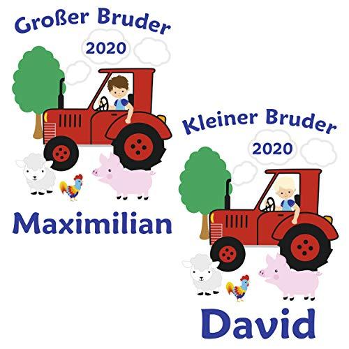 MissRompy Geschwister Bügelbild Traktor (871) für dunkle und helle Stoffe Aufbügler großer oder...