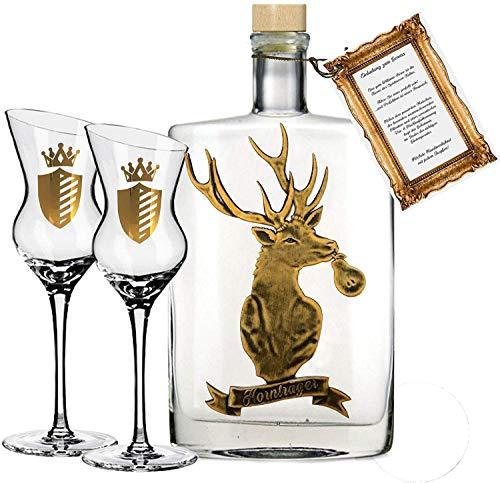 Hornträger Williamsbirne (0.5 l) exklusiv Geschenkset inkl. 2 geschrägten Obstbrand-Gläsern für...