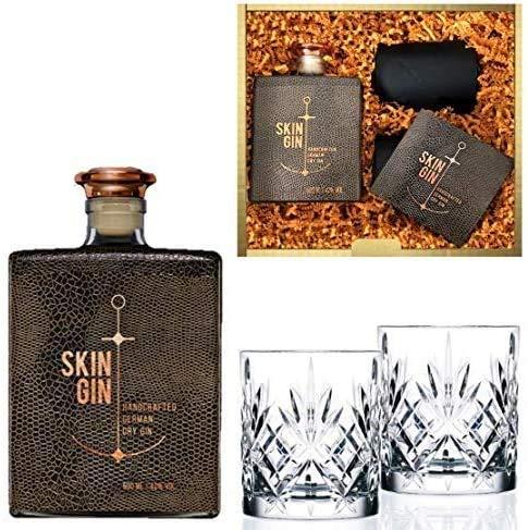 Geschenkset Skin Gin im Reptile Brown Design inkl. 2 geschliffener Tumbler-Gläser   42% Vol. (0.5...