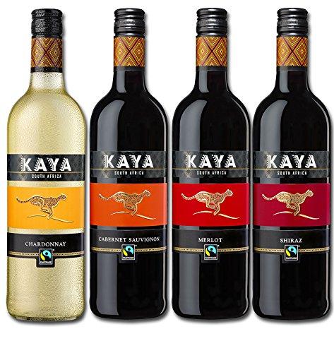Kaya Südafrika Quartett Fairtrade Wein Probierpaket Trocken (4 x 0.75l) Rotwein Weißwein ideal zum...