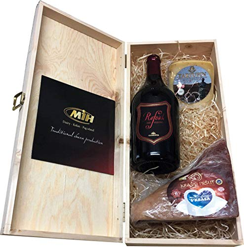 Präsentkorb Käse Wein Geschenkset Geburtstag Geschenkbox Geschenkideen in Weinkisten aus Holz