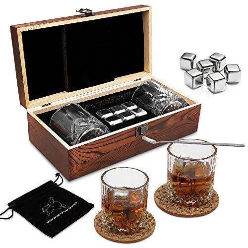 Whisky Steine Geschenkset – 6 Edelstahl Whisky Eiswürfel Wiederverwendbar - Whiskey Rocks Cooling...