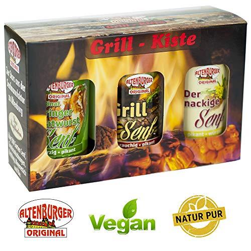 Senf Geschenkset - Grill Kiste, Set mit 3 Artikeln