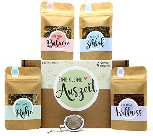 Eine kleine Auszeit Tee Geschenk-Box mit 4 verschiedene Sorten Tee und Tee-Ei Geschenkidee für Ruhe...