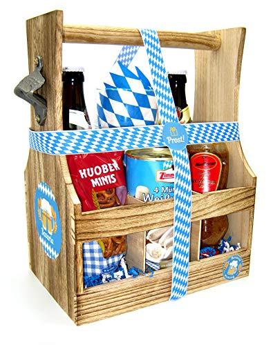 Geschenkkorb Bayern Geschenk im Flaschentrger mit Bier, Bierglas und Weiwurst | Bayrisches Geschenk...