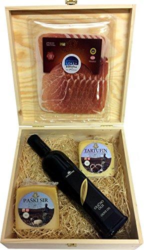 Pager Käse Geschenk mit Olivenöl und Karst Schinken aus Istrien