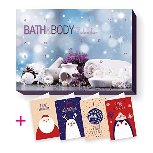 itenga Set Adventskalender Bath Body Motiv Spa Wellness Bad und Body Beauty Entspannung + 4...