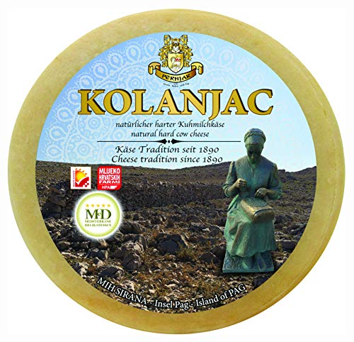 Ganzer Laib Pager Käse Kolanjac ca. 2800g halbharter Kuhmilchkäse aus Dalmatien mit Meersalz aus...