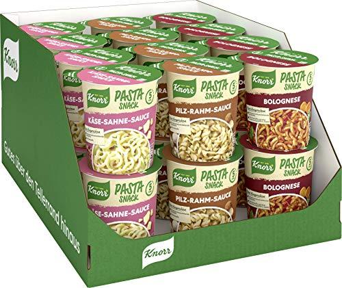 Knorr Pasta Snack Becher verschiedene Sorten Sortimentskarton, 24 x 70 g (24 x Snackbecher - 3 x...