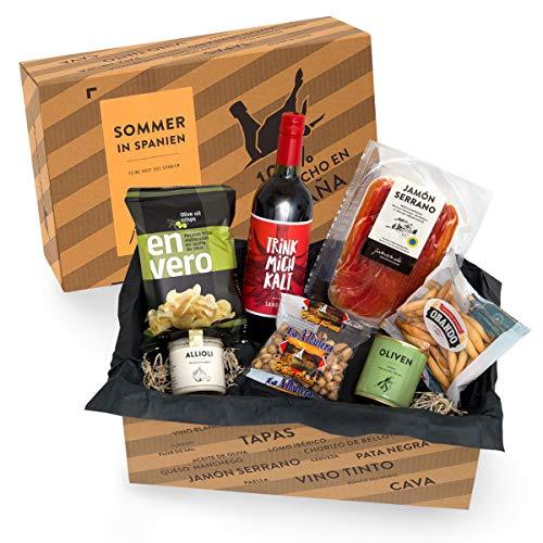 Präsentkorb SOMMER IN SPANIEN I Geschenkkorb gefüllt mit Sangria & spanischen Delikatessen I...