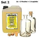 Absinth Gold Kristall 5 L ohne Farbstoff inkl 2 Flaschen 2 Ausgießer 55% Vol mit maximal erlaubtem...