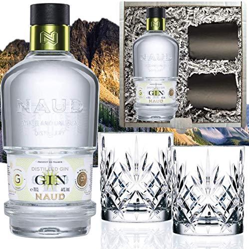 Naud Dry Gin (0.7 l) Geschenk inkl. 2 Tumblern in der Geschenkbox - der Geheimtipp unter Kennern!...