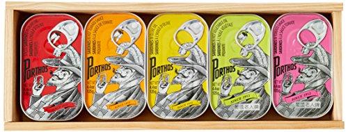 Porthos Sardinen Vintage Collection - Holzbox mit 5 Dosen, 1er Pack (1 x 625 g)