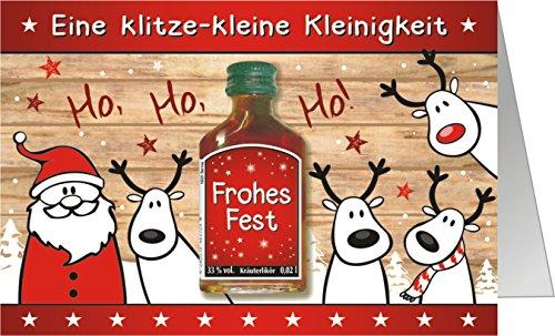 Weihnachtskarte mit Kräuterlikör als witziges Weihnachtsgeschenk mit Schnaps harzer Likör zum...